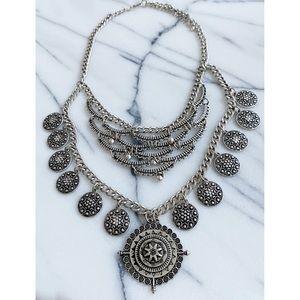 Brushed Silver Medallion Boho Statement Necklace